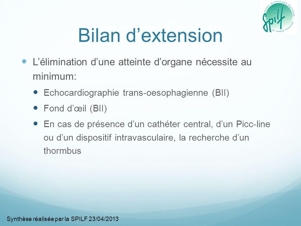 Bilan d'extension L'élimination d'une atteinte d'organe nécessite au minimum: Echocardiographie trans-oesophagienne (BII)