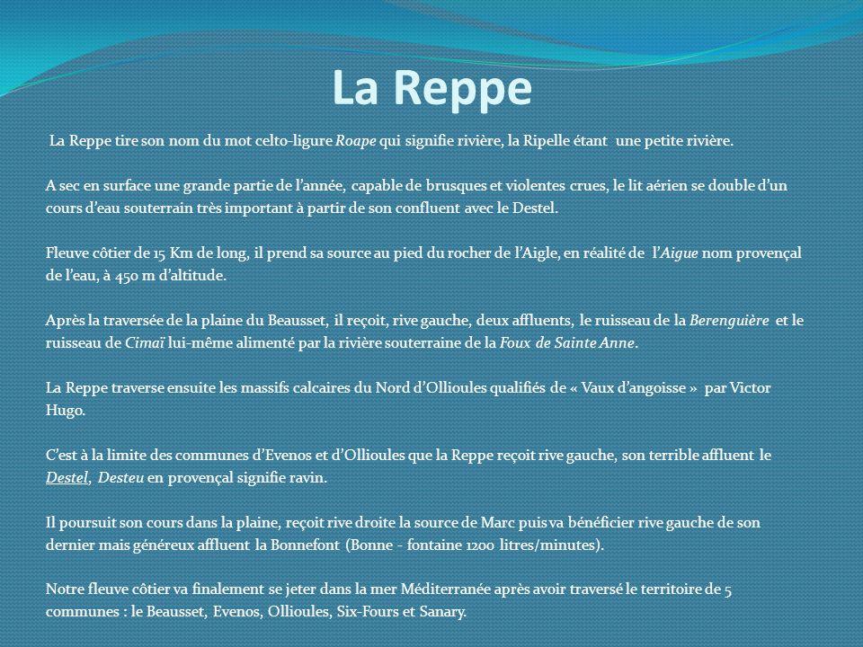 La Reppe La Reppe tire son nom du mot celto-ligure Roape qui signifie rivière, la Ripelle étant une petite rivière.