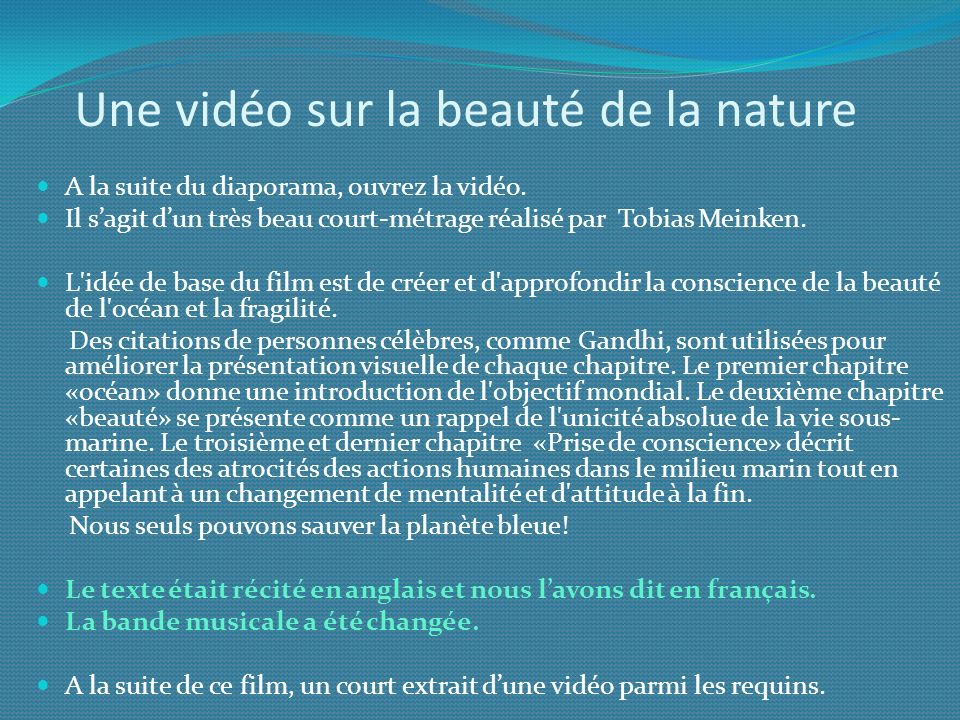 Une vidéo sur la beauté de la nature
