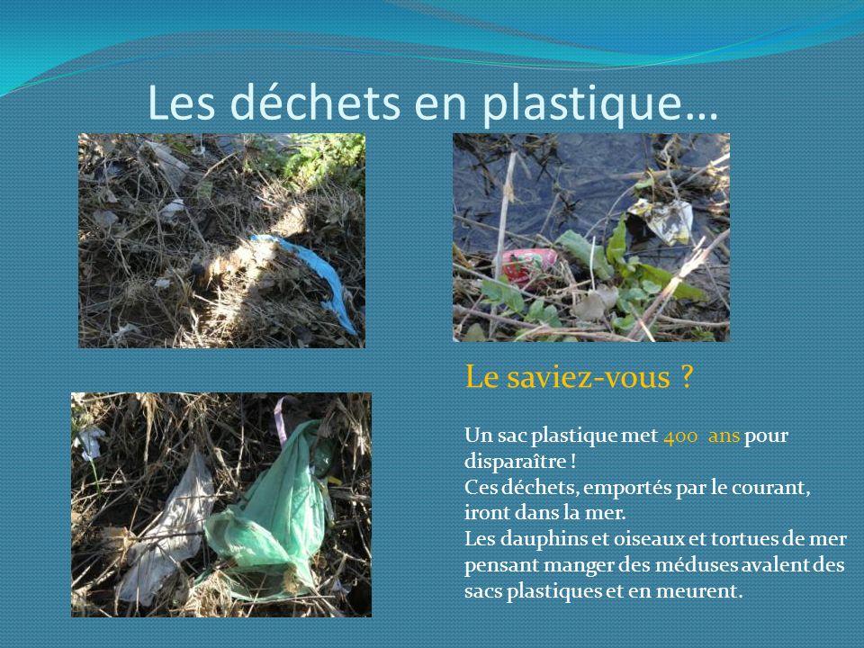 Les déchets en plastique…