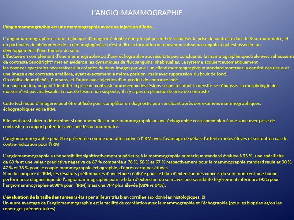 L'ANGIO-MAMMOGRAPHIE
