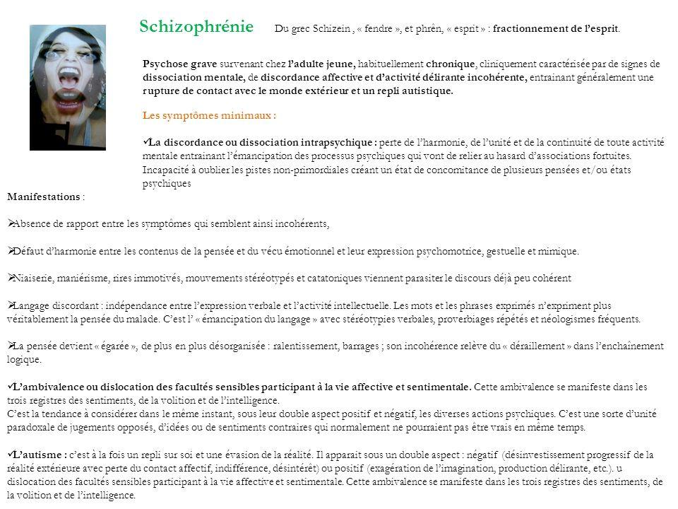 Schizophrénie Du grec Schizein , « fendre », et phrên, « esprit » : fractionnement de l'esprit.