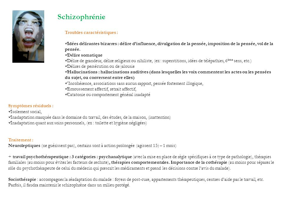 Schizophrénie Troubles caractéristiques :