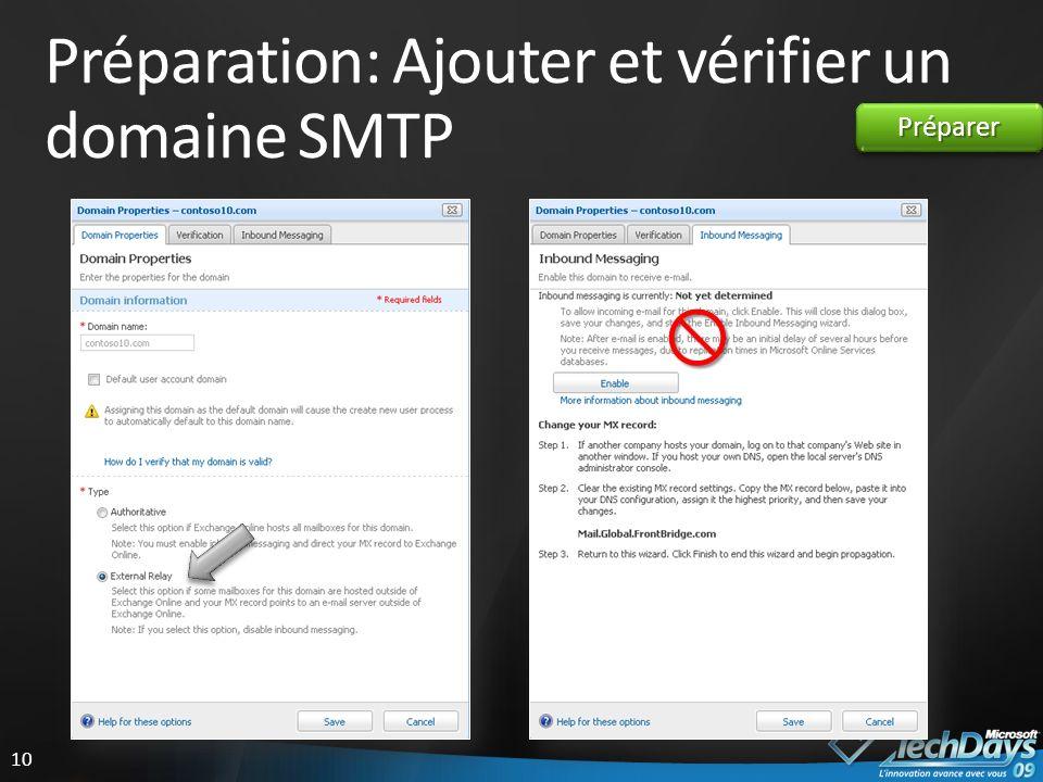 Préparation: Ajouter et vérifier un domaine SMTP