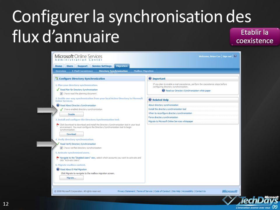 Configurer la synchronisation des flux d'annuaire