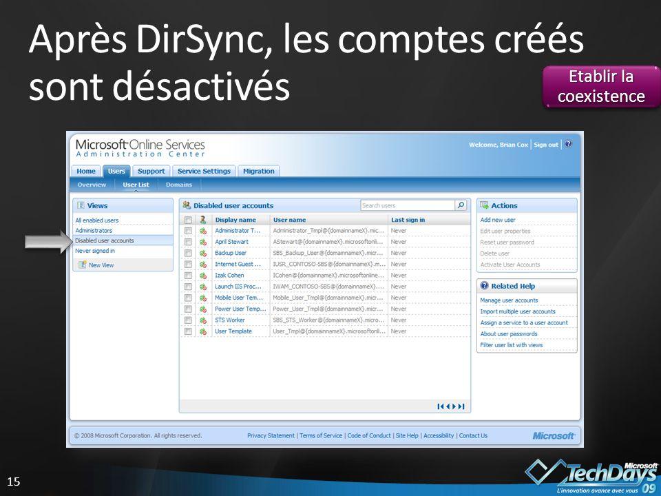 Après DirSync, les comptes créés sont désactivés