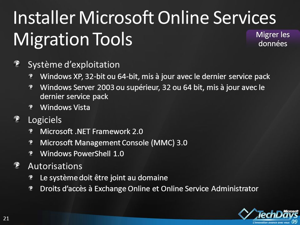Installer Microsoft Online Services Migration Tools