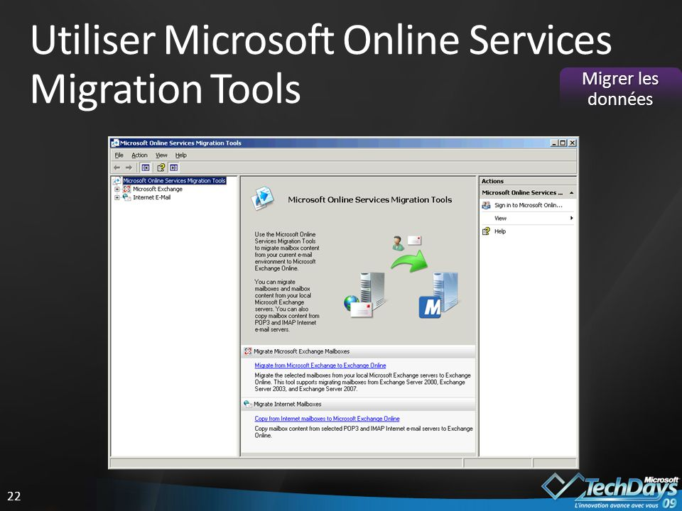Utiliser Microsoft Online Services Migration Tools