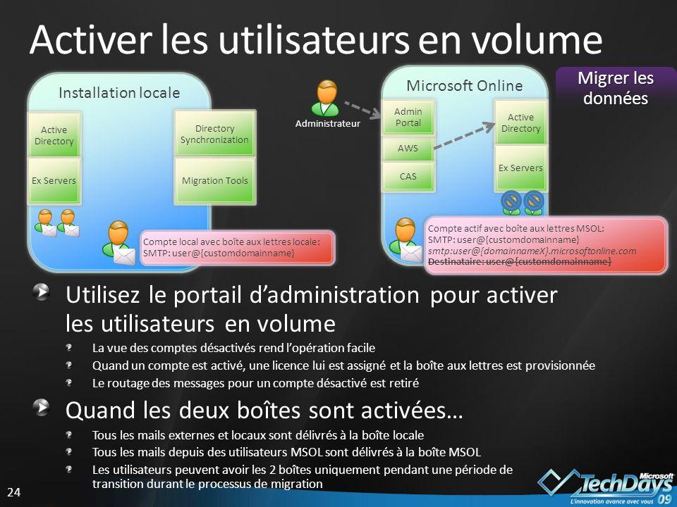 Activer les utilisateurs en volume