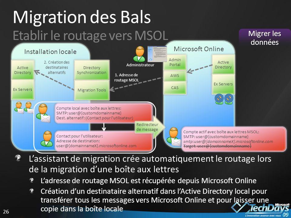 Migration des Bals Etablir le routage vers MSOL