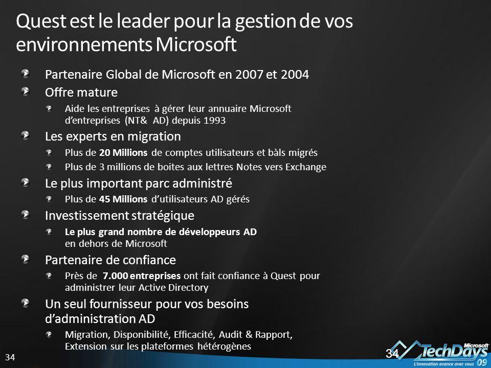 Quest est le leader pour la gestion de vos environnements Microsoft