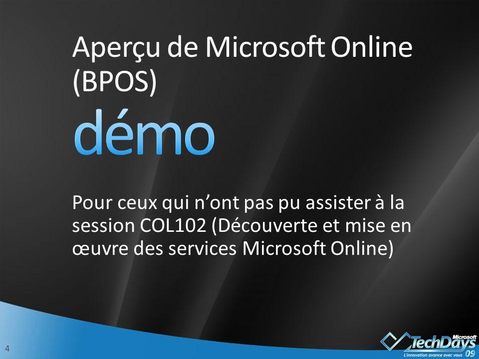 Aperçu de Microsoft Online (BPOS)
