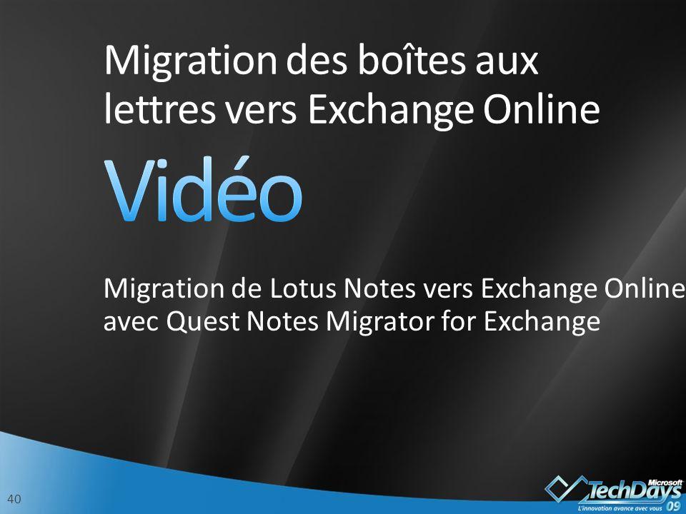 Migration des boîtes aux lettres vers Exchange Online