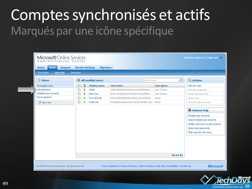 Comptes synchronisés et actifs Marqués par une icône spécifique