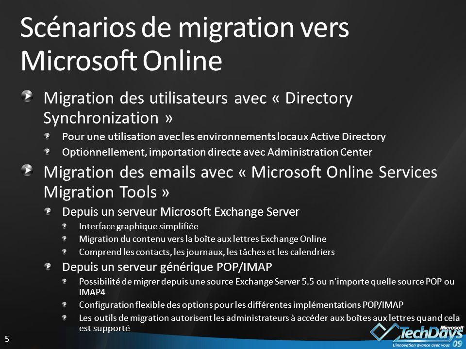 Scénarios de migration vers Microsoft Online
