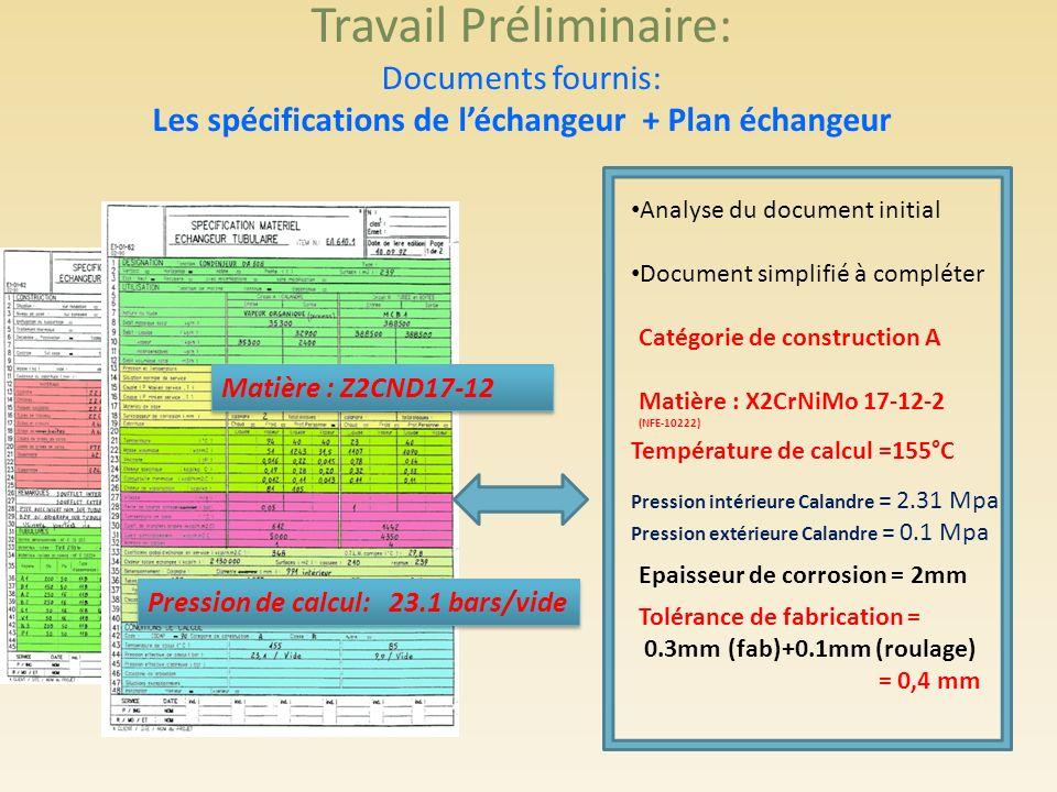 Travail Préliminaire: Documents fournis: Les spécifications de l'échangeur + Plan échangeur