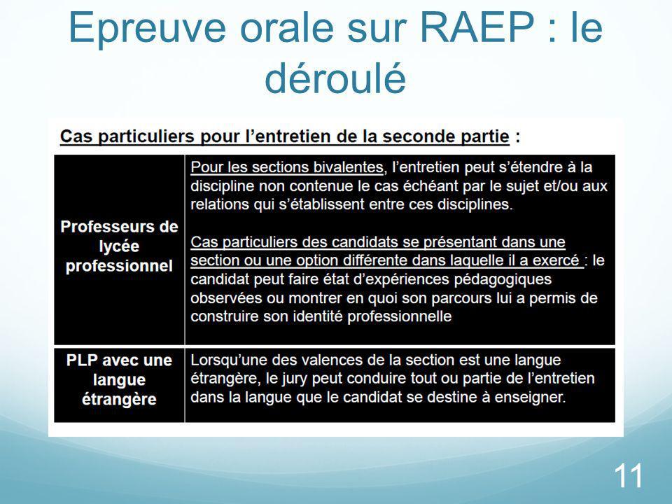 Epreuve orale sur RAEP : le déroulé