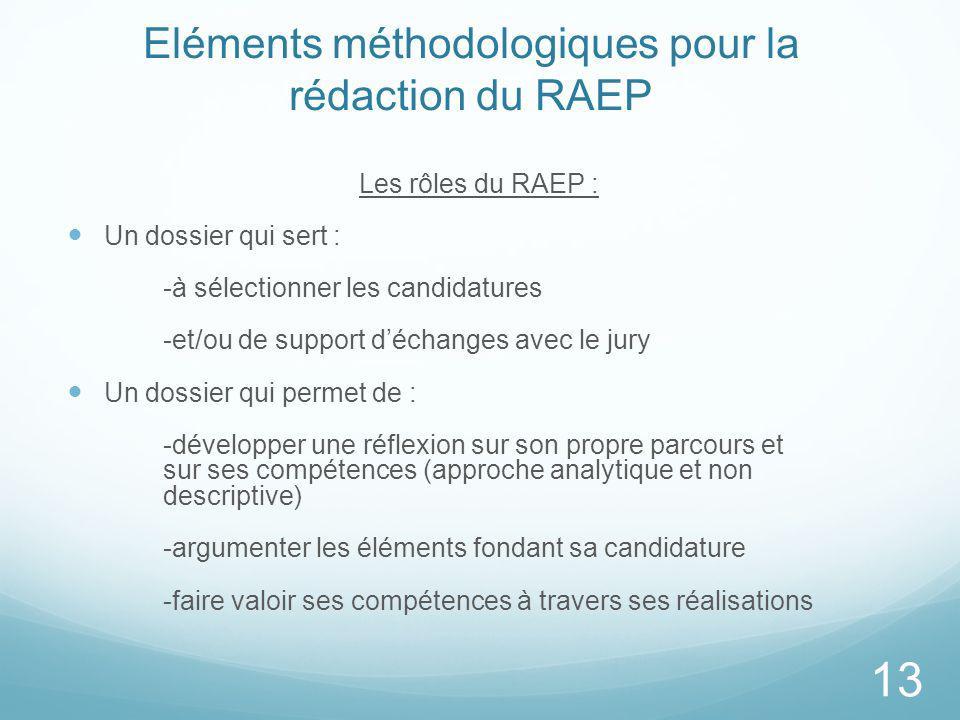 Eléments méthodologiques pour la rédaction du RAEP