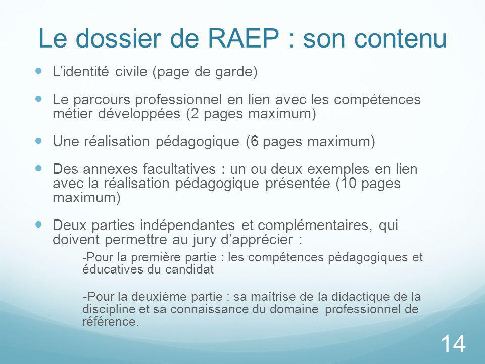 Le dossier de RAEP : son contenu