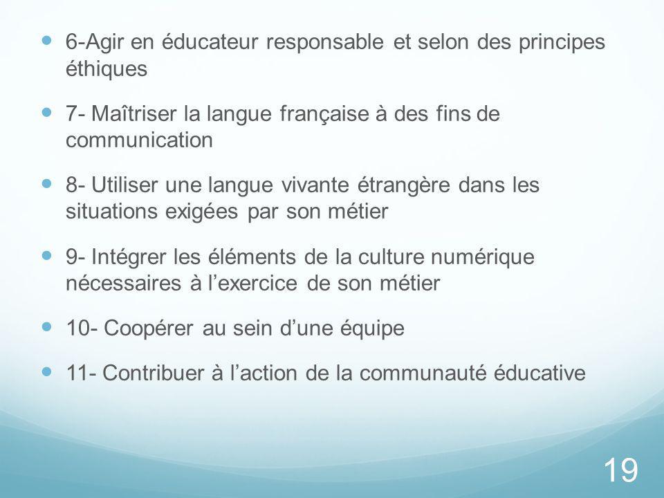 6-Agir en éducateur responsable et selon des principes éthiques