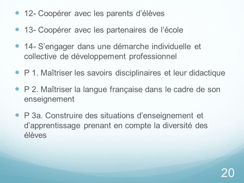 12- Coopérer avec les parents d'élèves