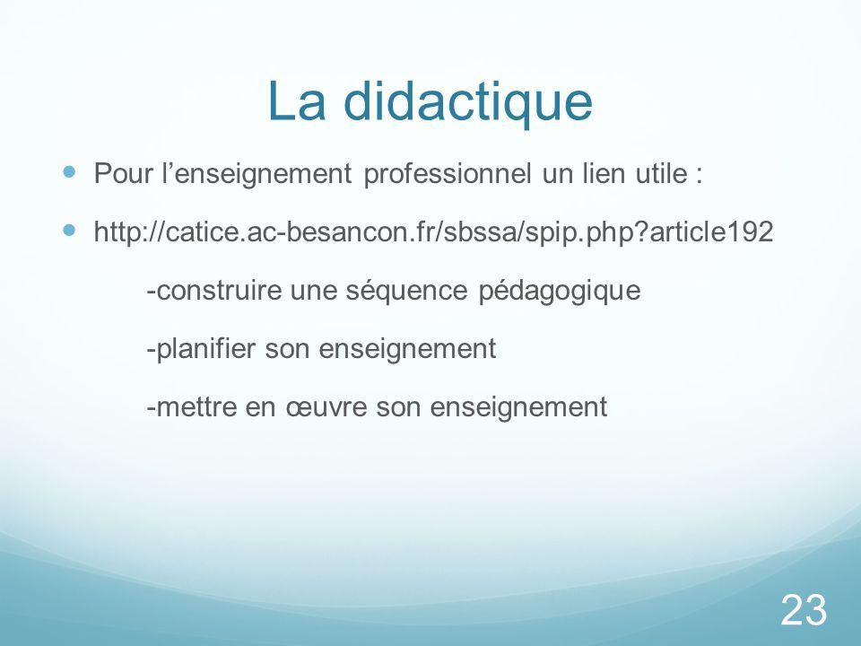 La didactique Pour l'enseignement professionnel un lien utile :