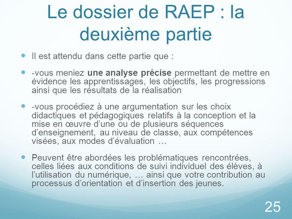 Le dossier de RAEP : la deuxième partie