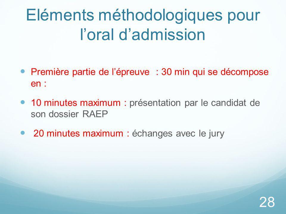 Eléments méthodologiques pour l'oral d'admission