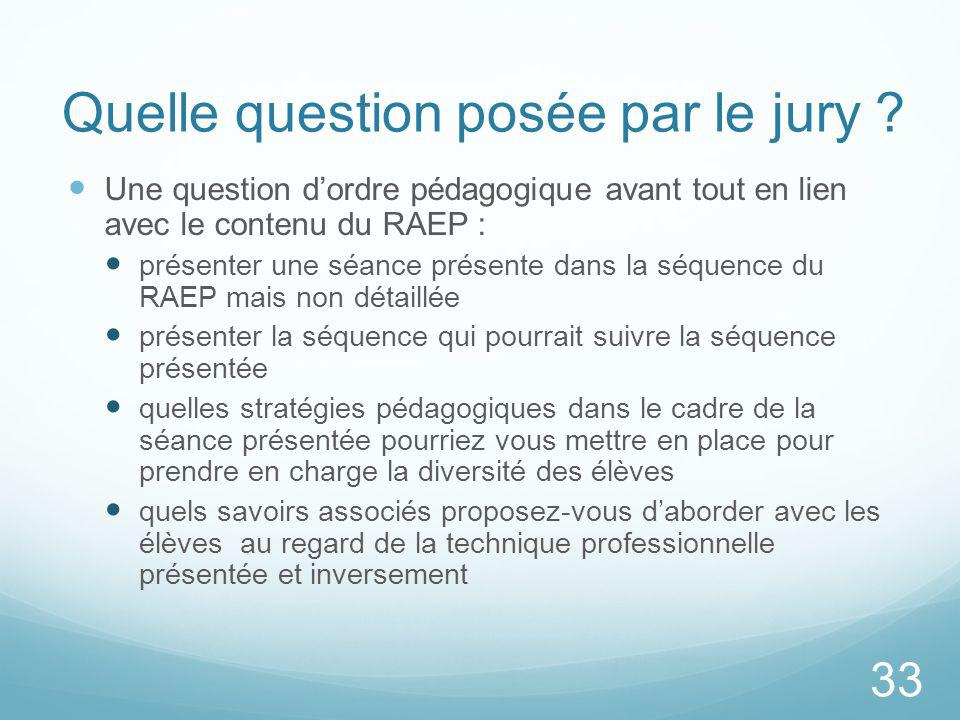 Quelle question posée par le jury