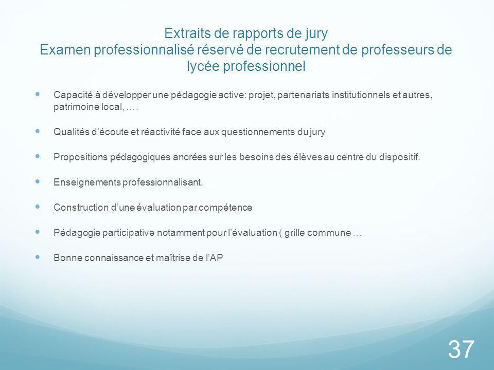 Extraits de rapports de jury Examen professionnalisé réservé de recrutement de professeurs de lycée professionnel