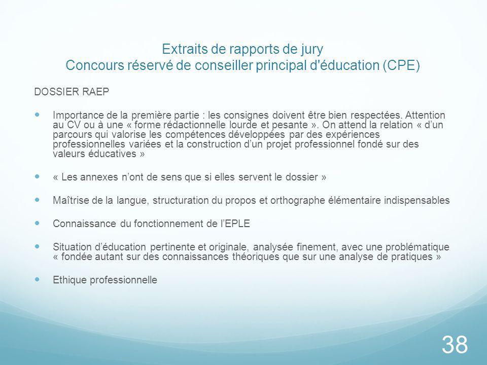 Extraits de rapports de jury Concours réservé de conseiller principal d éducation (CPE)