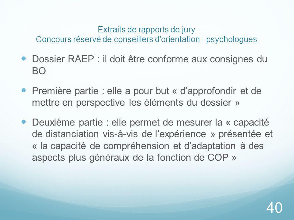 Extraits de rapports de jury Concours réservé de conseillers d orientation - psychologues