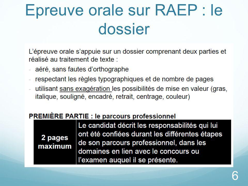 Epreuve orale sur RAEP : le dossier
