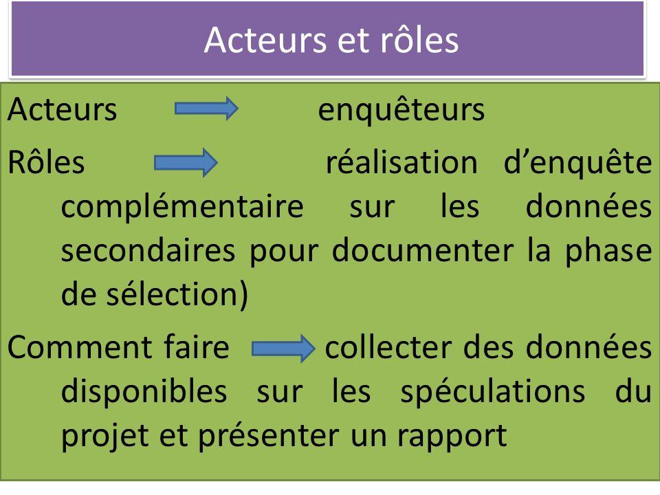Acteurs et rôles Acteurs enquêteurs