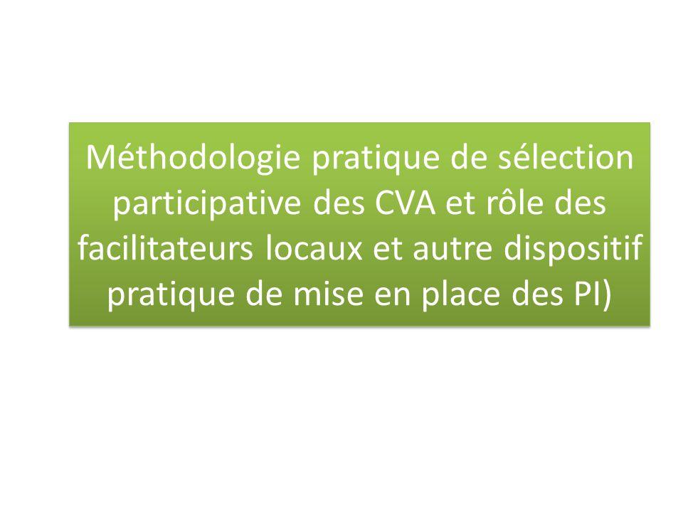 Méthodologie pratique de sélection participative des CVA et rôle des facilitateurs locaux et autre dispositif pratique de mise en place des PI)