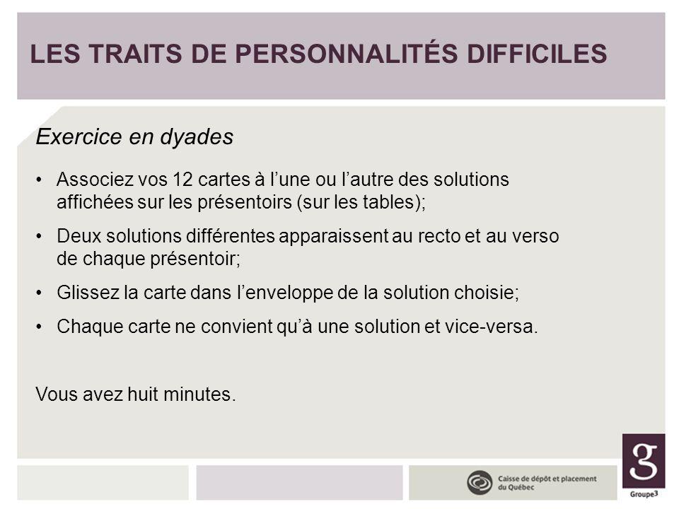 LES TRAITS DE PERSONNALITÉS DIFFICILES