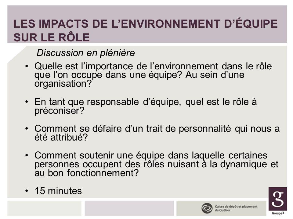 LES IMPACTS DE L'ENVIRONNEMENT D'ÉQUIPE SUR LE RÔLE
