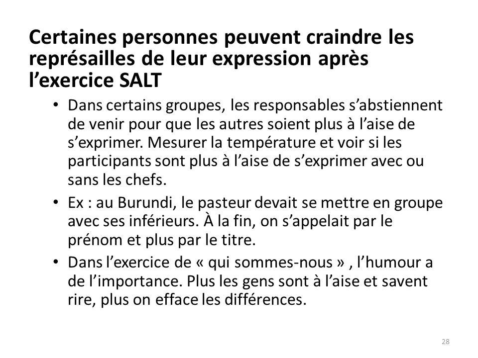 Certaines personnes peuvent craindre les représailles de leur expression après l'exercice SALT