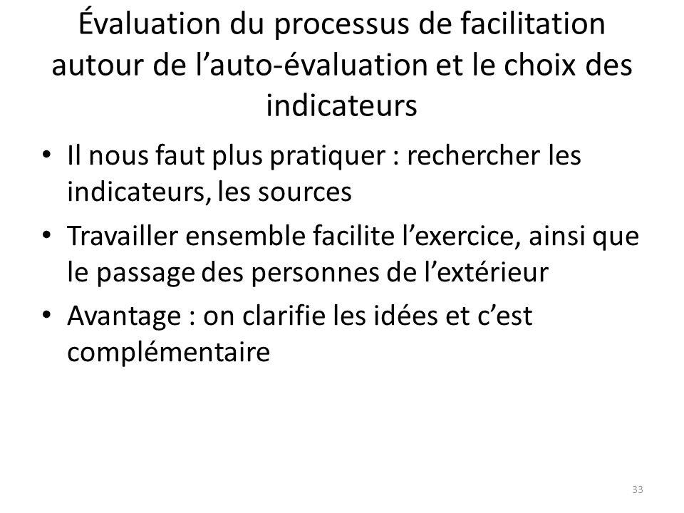 Évaluation du processus de facilitation autour de l'auto-évaluation et le choix des indicateurs