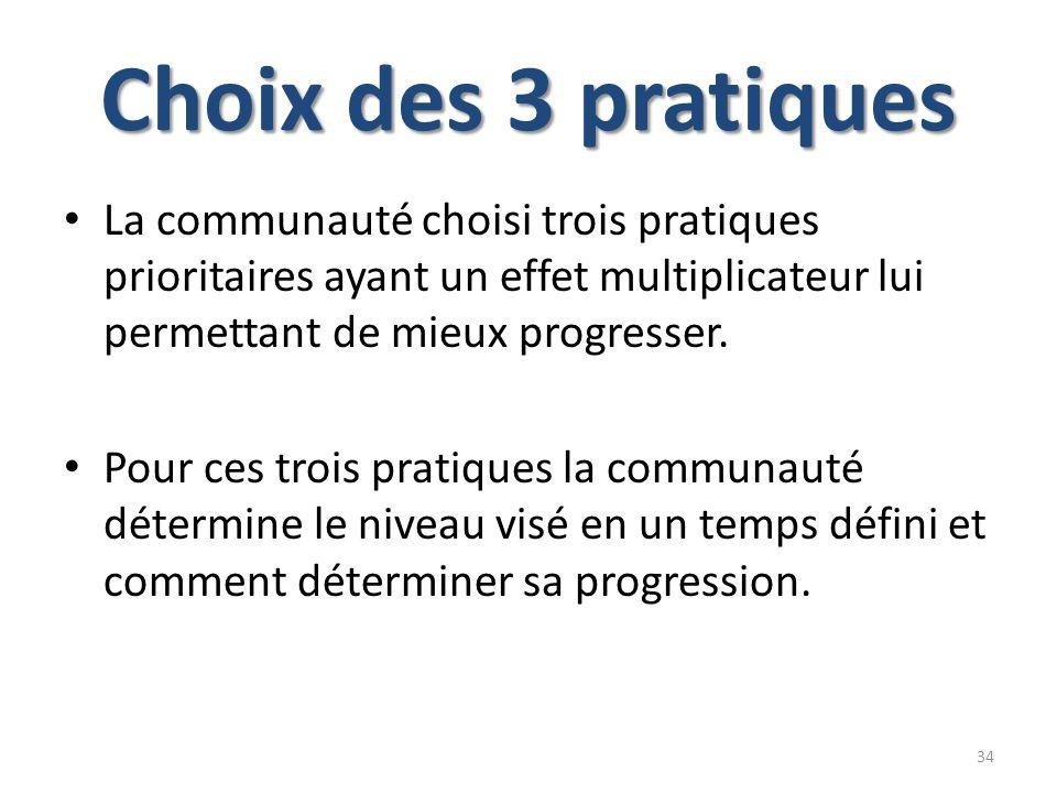 Choix des 3 pratiques La communauté choisi trois pratiques prioritaires ayant un effet multiplicateur lui permettant de mieux progresser.