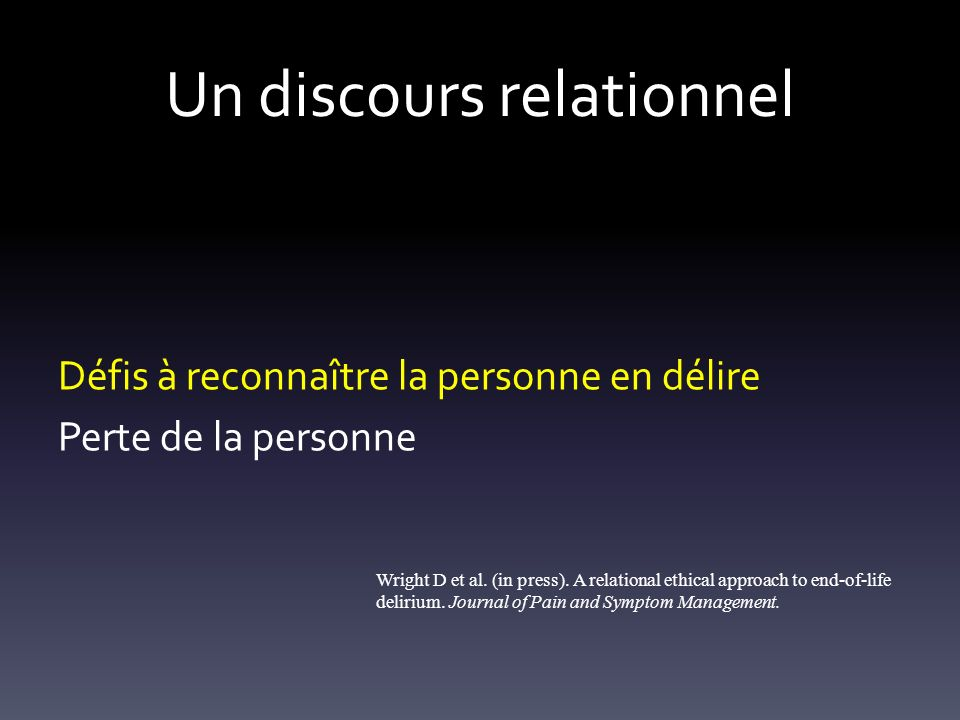 Un discours relationnel