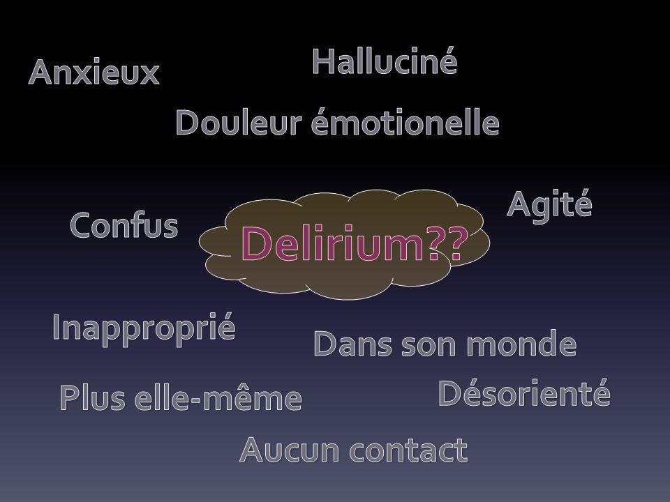 Delirium Halluciné Anxieux Douleur émotionelle Agité Confus