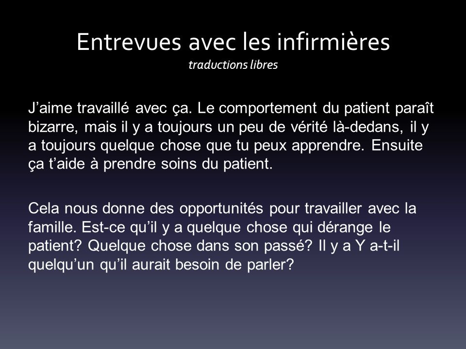 Entrevues avec les infirmières traductions libres