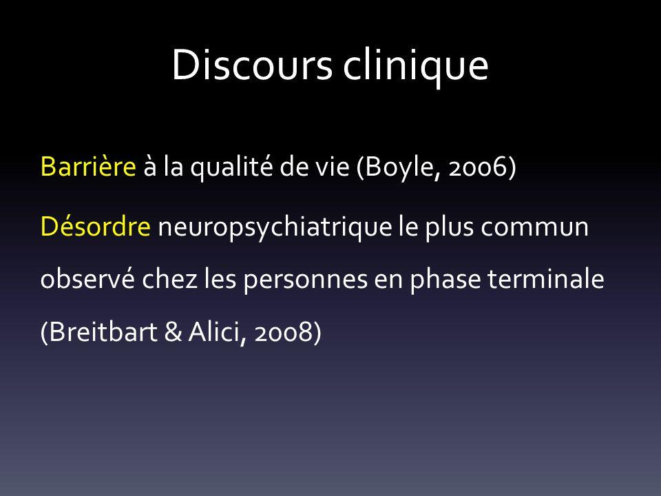 Discours clinique Barrière à la qualité de vie (Boyle, 2006)