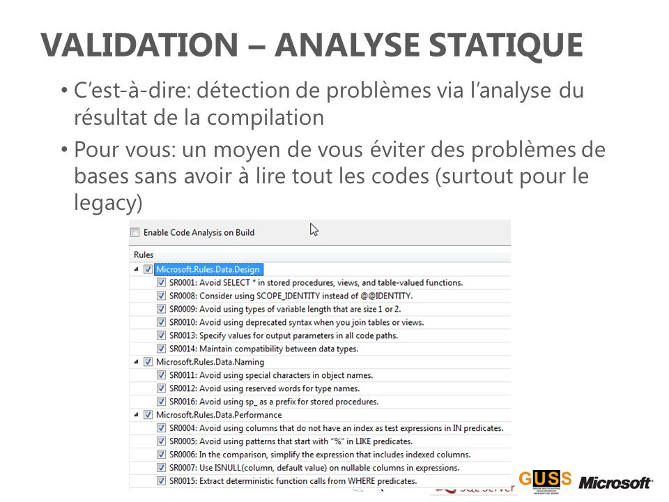 Validation – Analyse statique