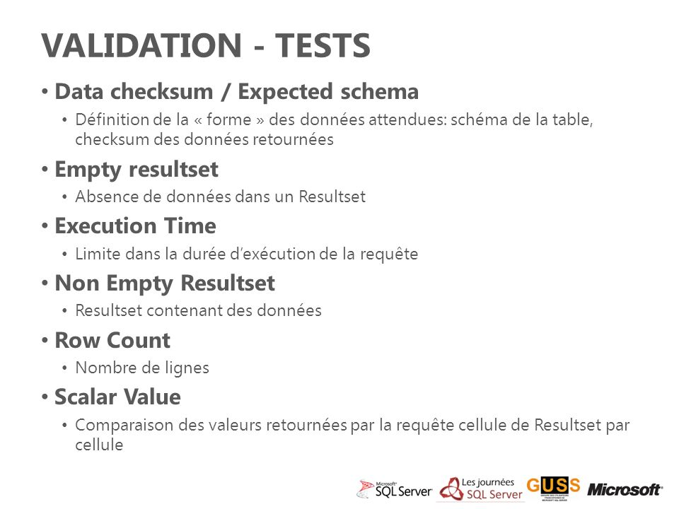 Validation - Tests Data checksum / Expected schema Empty resultset