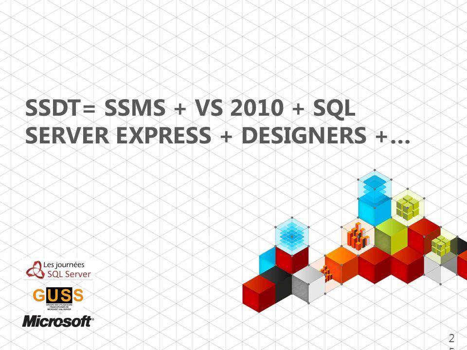 SSDT= SSMS + VS 2010 + SQL SERVER EXPRESS + DESIGNERS +…