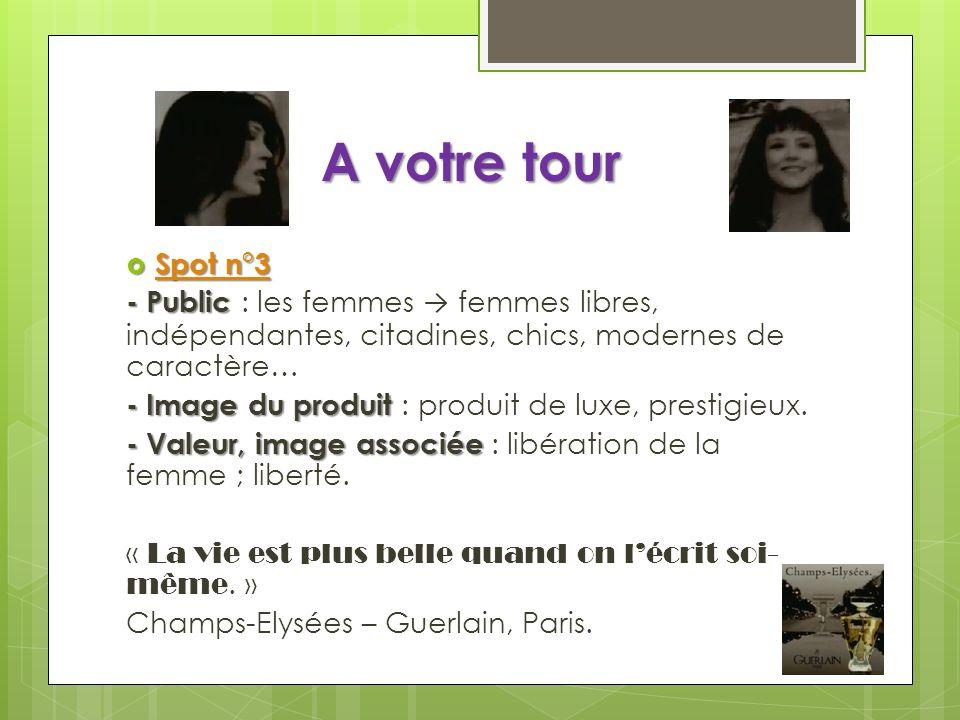 A votre tour Spot n°3. - Public : les femmes → femmes libres, indépendantes, citadines, chics, modernes de caractère…