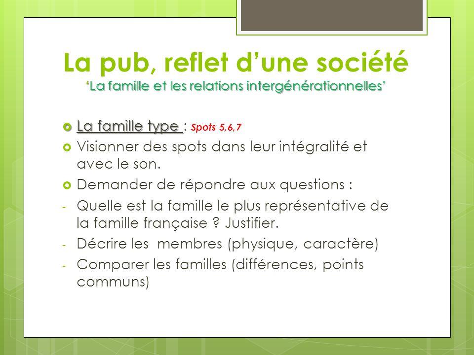 La pub, reflet d'une société 'La famille et les relations intergénérationnelles'