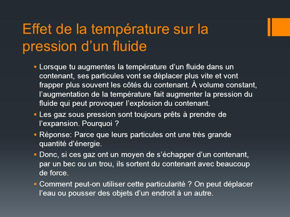 Effet de la température sur la pression d'un fluide